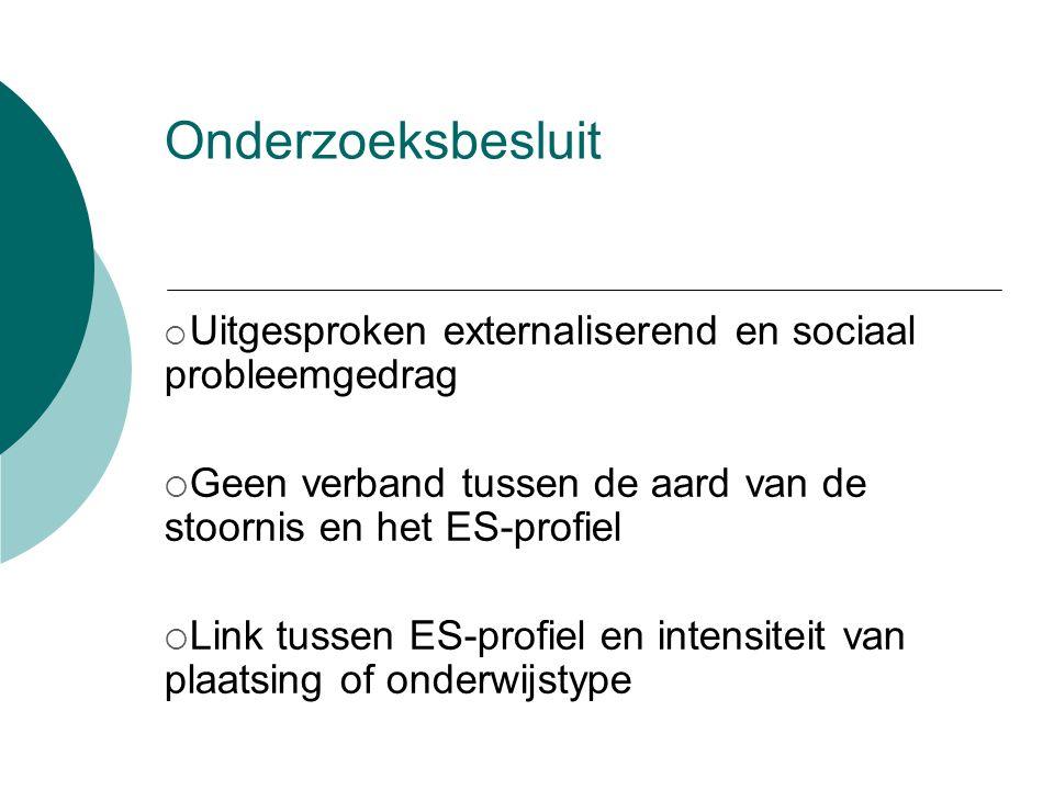 Onderzoeksbesluit  Uitgesproken externaliserend en sociaal probleemgedrag  Geen verband tussen de aard van de stoornis en het ES-profiel  Link tussen ES-profiel en intensiteit van plaatsing of onderwijstype