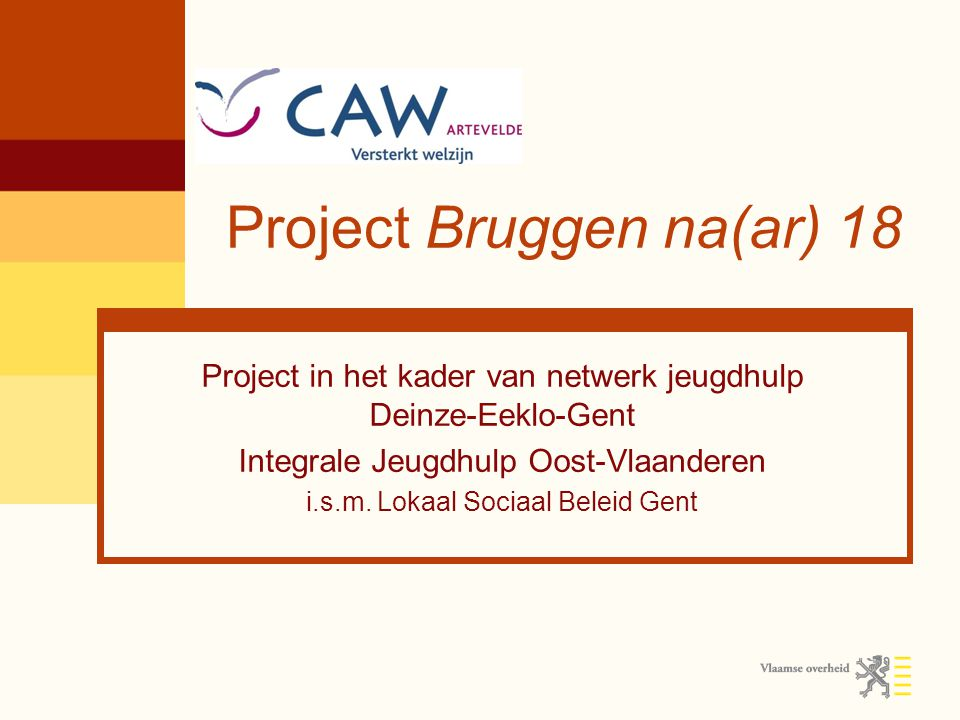 Project Bruggen na(ar) 18 Project in het kader van netwerk jeugdhulp Deinze-Eeklo-Gent Integrale Jeugdhulp Oost-Vlaanderen i.s.m. Lokaal Sociaal Belei