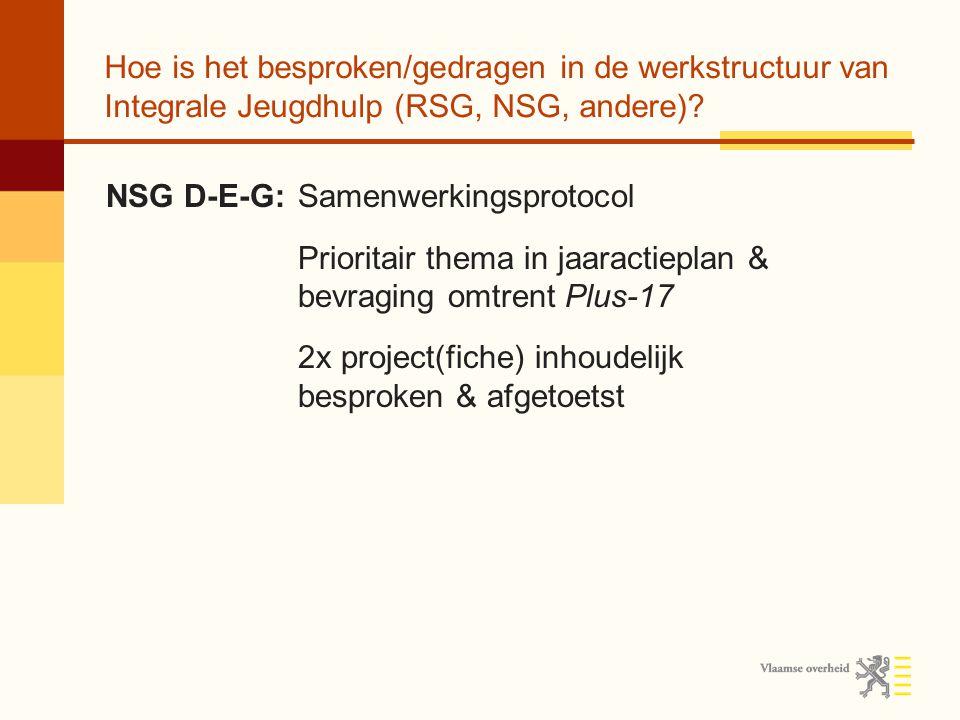 Hoe is het besproken/gedragen in de werkstructuur van Integrale Jeugdhulp (RSG, NSG, andere)? NSG D-E-G:Samenwerkingsprotocol Prioritair thema in jaar