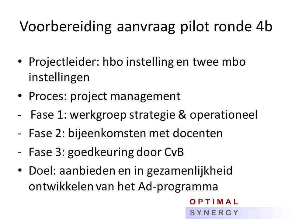 Voorbereiding aanvraag pilot ronde 4b Projectleider: hbo instelling en twee mbo instellingen Proces: project management - Fase 1: werkgroep strategie & operationeel -Fase 2: bijeenkomsten met docenten -Fase 3: goedkeuring door CvB Doel: aanbieden en in gezamenlijkheid ontwikkelen van het Ad-programma