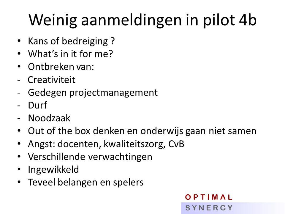 Weinig aanmeldingen in pilot 4b Kans of bedreiging .