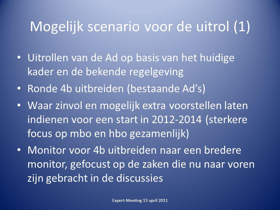 Mogelijk scenario voor de uitrol (1) Uitrollen van de Ad op basis van het huidige kader en de bekende regelgeving Ronde 4b uitbreiden (bestaande Ad's)