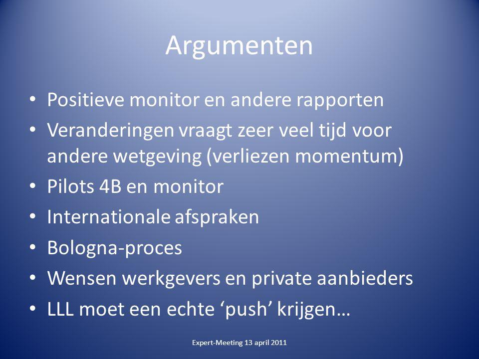 Argumenten Positieve monitor en andere rapporten Veranderingen vraagt zeer veel tijd voor andere wetgeving (verliezen momentum) Pilots 4B en monitor I