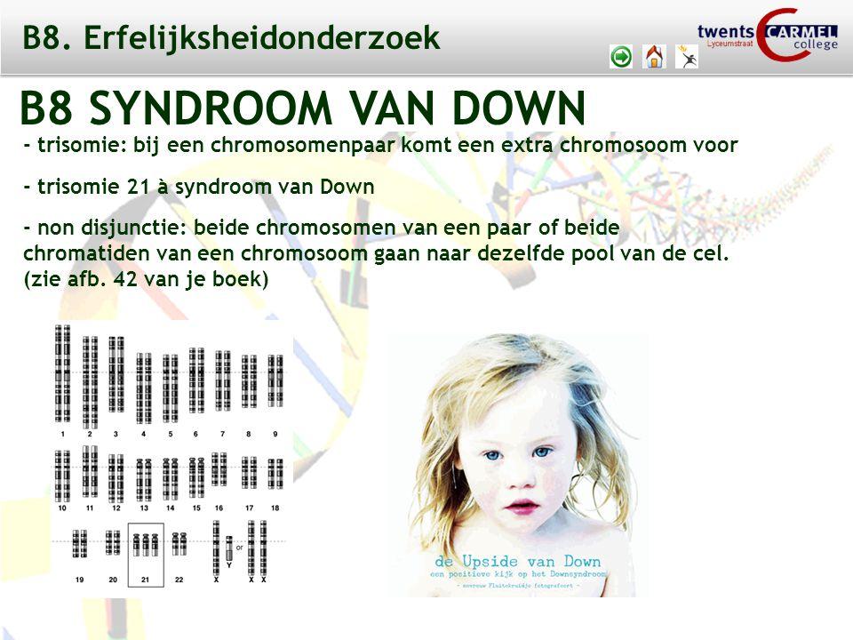 © 2009 Biosoft TCC - Lyceumstraat B8 SYNDROOM VAN DOWN - trisomie: bij een chromosomenpaar komt een extra chromosoom voor - trisomie 21 à syndroom van Down - non disjunctie: beide chromosomen van een paar of beide chromatiden van een chromosoom gaan naar dezelfde pool van de cel.