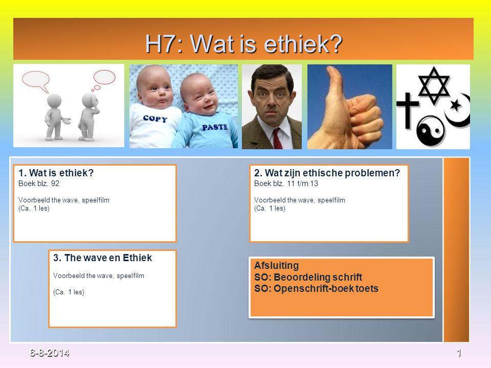 H7: Wat is ethiek? 1 1. Wat is ethiek? Boek blz. 92 Voorbeeld the wave, speelfilm (Ca. 1 les) 2. Wat zijn ethische problemen? Boek blz. 11 t/m 13 Voor