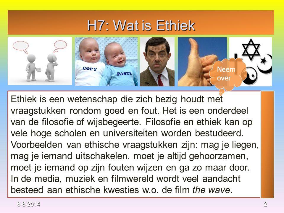 H7: Wat is Ethiek 2 Ethiek is een wetenschap die zich bezig houdt met vraagstukken rondom goed en fout. Het is een onderdeel van de filosofie of wijsb