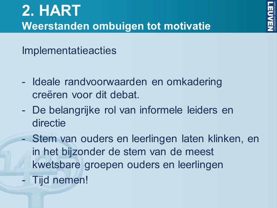 2. HART Weerstanden ombuigen tot motivatie Implementatieacties -Ideale randvoorwaarden en omkadering creëren voor dit debat. -De belangrijke rol van i