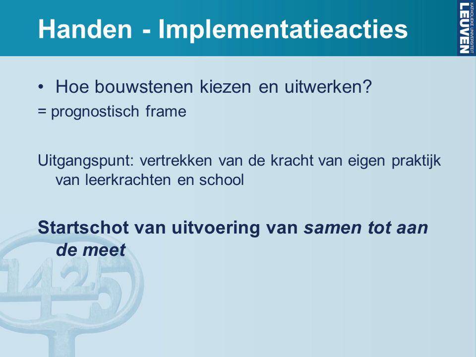 Handen - Implementatieacties Hoe bouwstenen kiezen en uitwerken? = prognostisch frame Uitgangspunt: vertrekken van de kracht van eigen praktijk van le