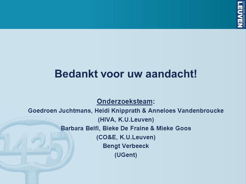 Bedankt voor uw aandacht! Onderzoeksteam: Goedroen Juchtmans, Heidi Knipprath & Anneloes Vandenbroucke (HIVA, K.U.Leuven) Barbara Belfi, Bieke De Frai