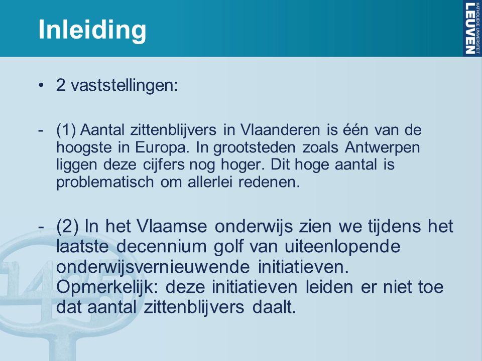 Inleiding 2 vaststellingen: -(1) Aantal zittenblijvers in Vlaanderen is één van de hoogste in Europa. In grootsteden zoals Antwerpen liggen deze cijfe