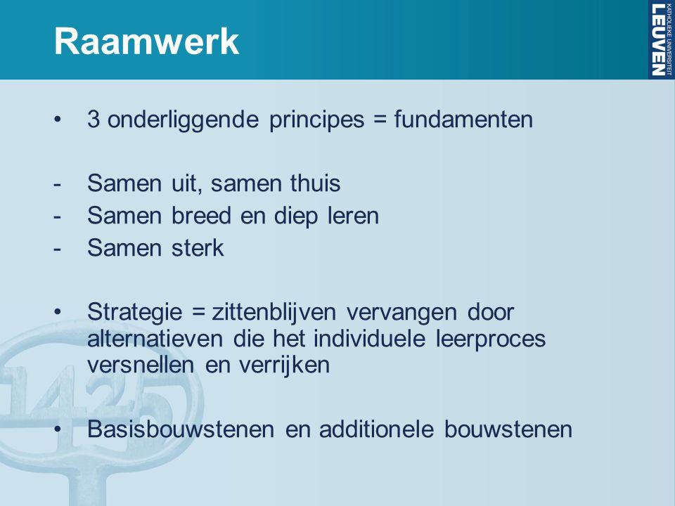 Raamwerk 3 onderliggende principes = fundamenten -Samen uit, samen thuis -Samen breed en diep leren -Samen sterk Strategie = zittenblijven vervangen d