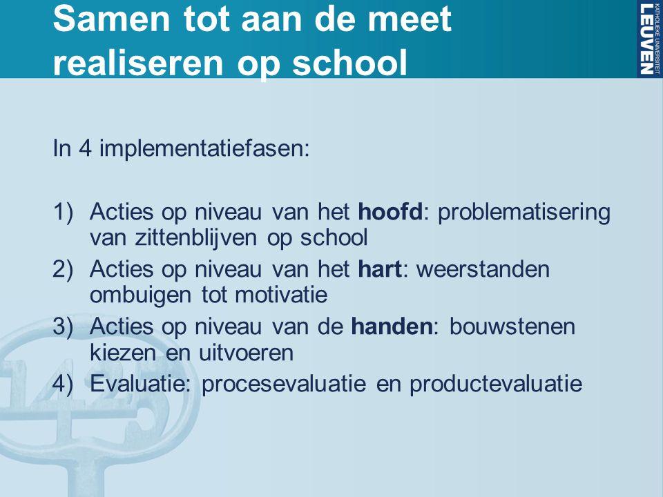 Samen tot aan de meet realiseren op school In 4 implementatiefasen: 1)Acties op niveau van het hoofd: problematisering van zittenblijven op school 2)A