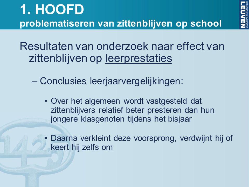 1. HOOFD problematiseren van zittenblijven op school Resultaten van onderzoek naar effect van zittenblijven op leerprestaties –Conclusies leerjaarverg