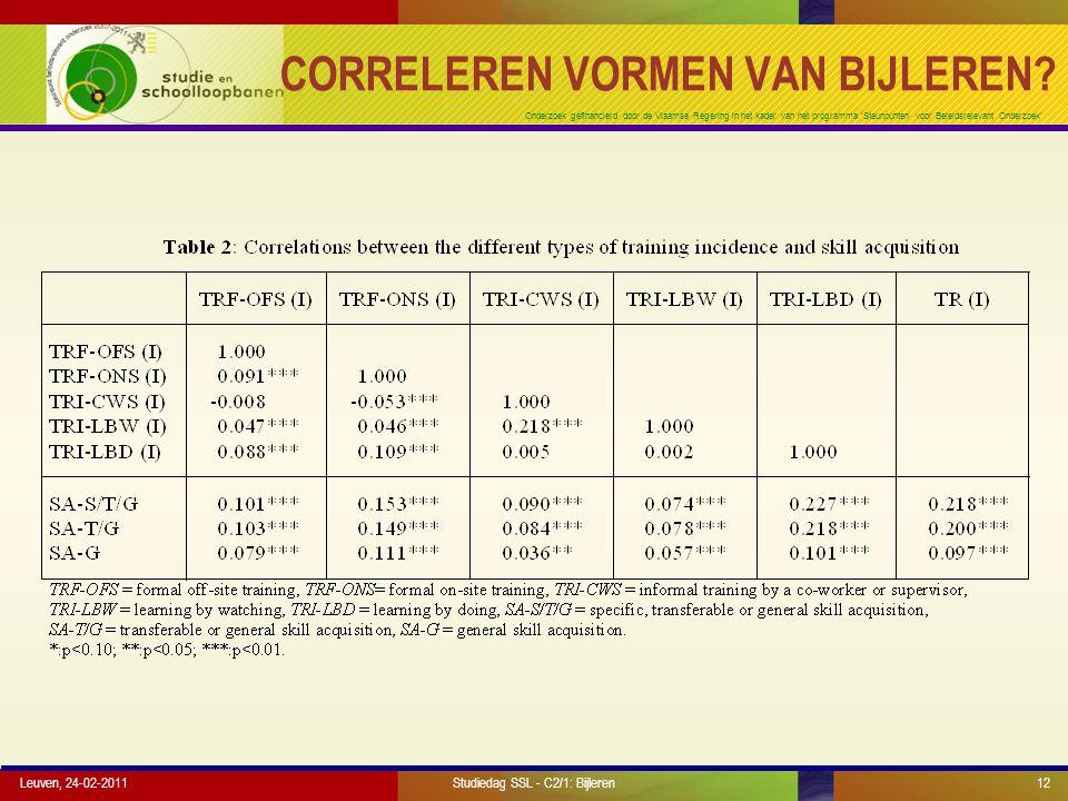 Onderzoek gefinancierd door de Vlaamse Regering in het kader van het programma 'Steunpunten voor Beleidsrelevant Onderzoek' CORRELEREN VORMEN VAN BIJL