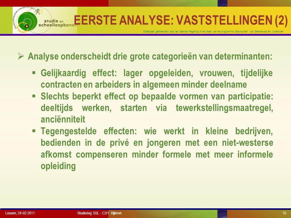 Onderzoek gefinancierd door de Vlaamse Regering in het kader van het programma 'Steunpunten voor Beleidsrelevant Onderzoek' Leuven, 24-02-201115 EERST