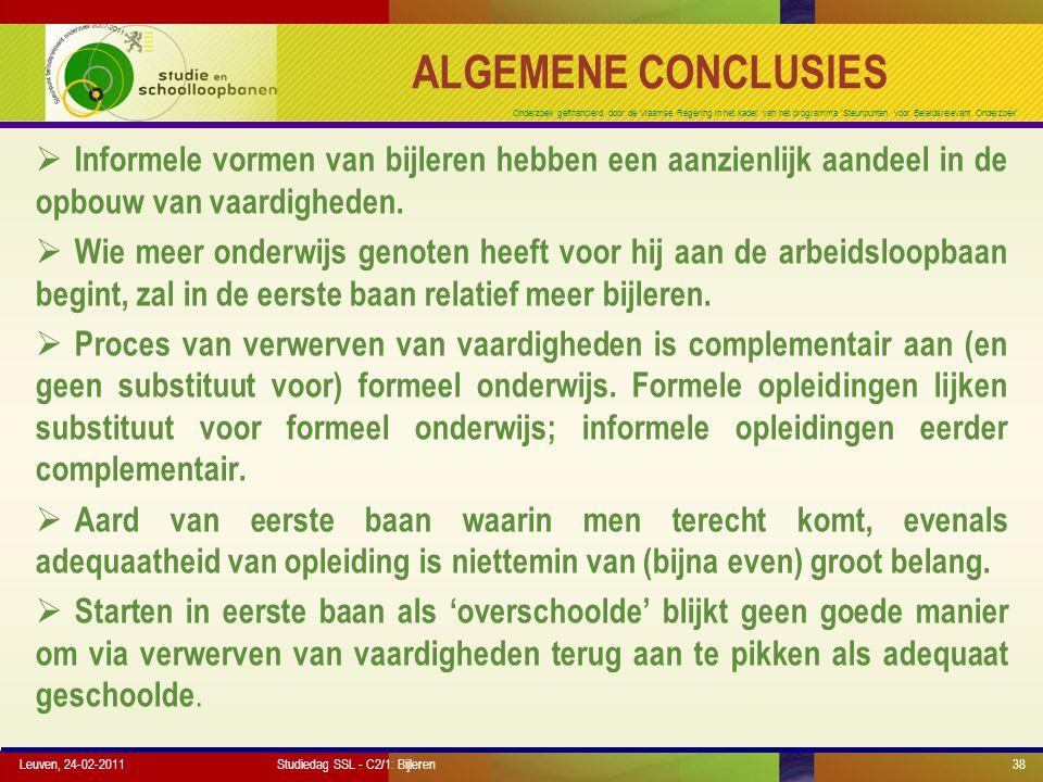 Onderzoek gefinancierd door de Vlaamse Regering in het kader van het programma 'Steunpunten voor Beleidsrelevant Onderzoek' ALGEMENE CONCLUSIES  Info