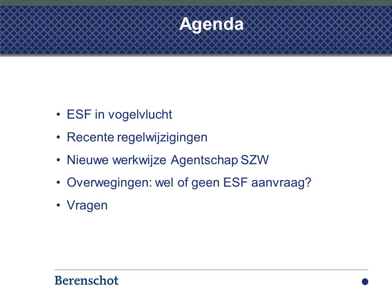 Agenda ESF in vogelvlucht Recente regelwijzigingen Nieuwe werkwijze Agentschap SZW Overwegingen: wel of geen ESF aanvraag? Vragen