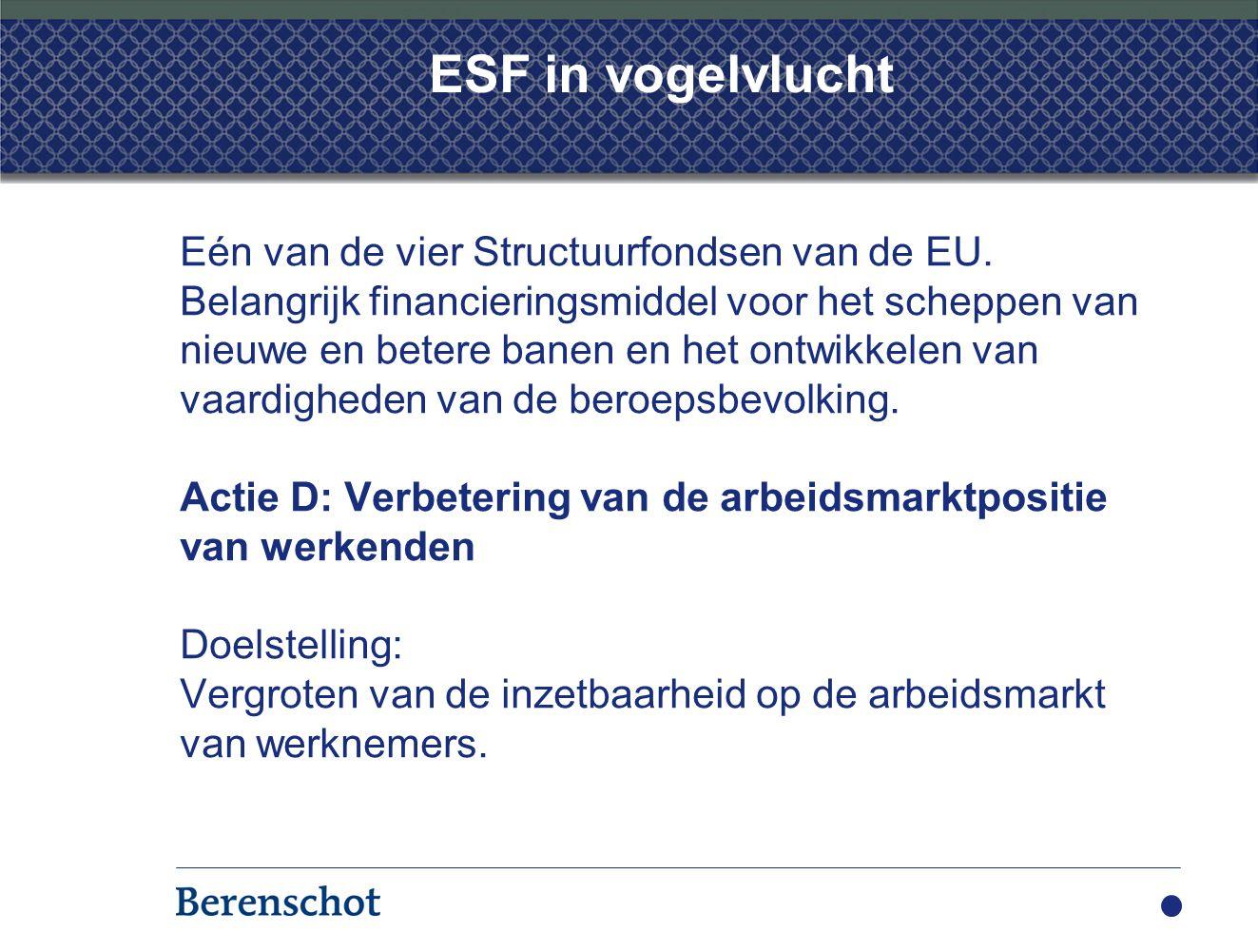 ESF in vogelvlucht Eén van de vier Structuurfondsen van de EU. Belangrijk financieringsmiddel voor het scheppen van nieuwe en betere banen en het ontw