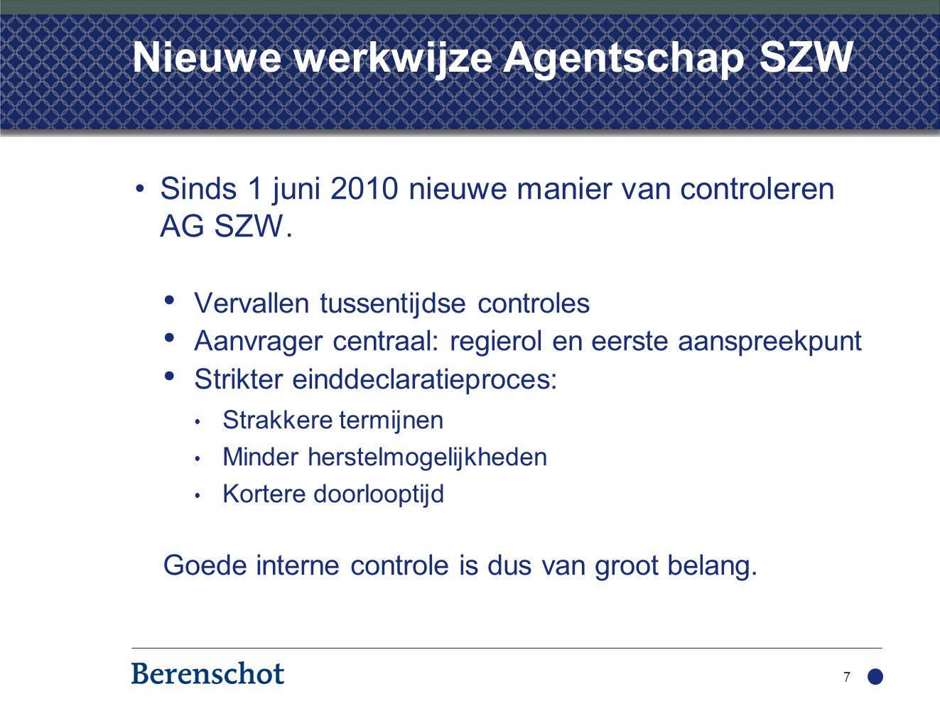 Nieuwe werkwijze Agentschap SZW Sinds 1 juni 2010 nieuwe manier van controleren AG SZW. Vervallen tussentijdse controles Aanvrager centraal: regierol