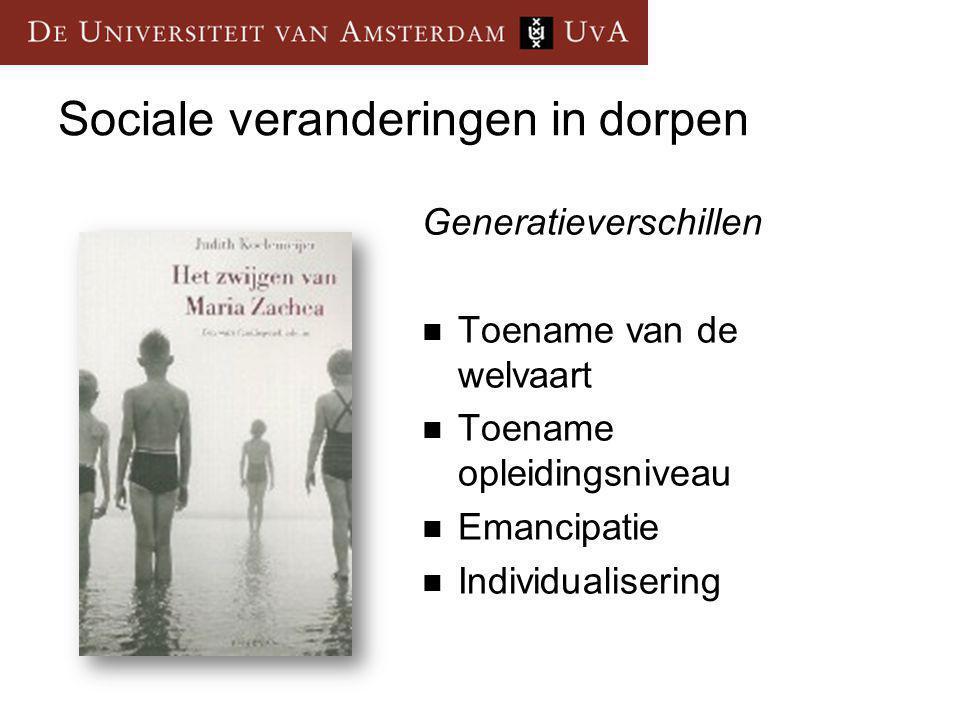Generatieverschillen Toename van de welvaart Toename opleidingsniveau Emancipatie Individualisering