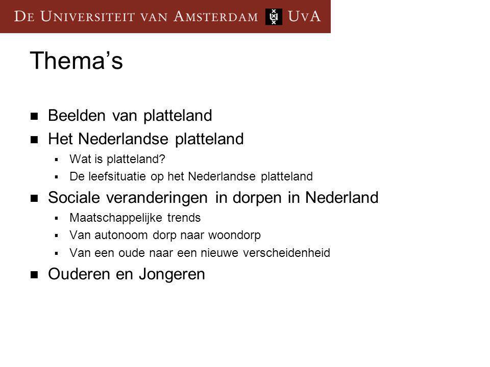 Thema's Beelden van platteland Het Nederlandse platteland  Wat is platteland?  De leefsituatie op het Nederlandse platteland Sociale veranderingen i