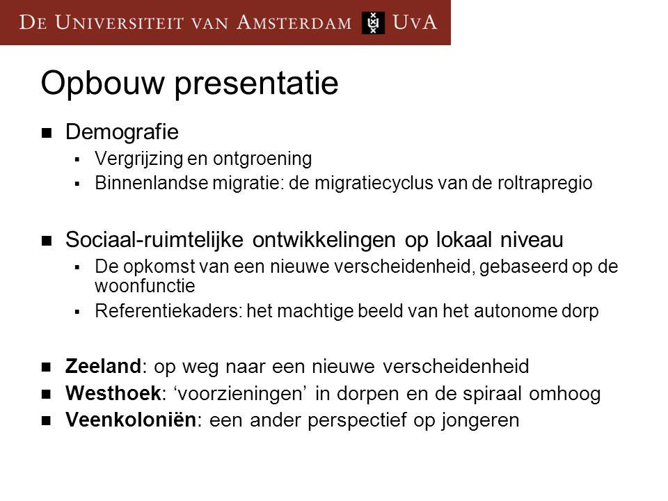 Opbouw presentatie Demografie  Vergrijzing en ontgroening  Binnenlandse migratie: de migratiecyclus van de roltrapregio Sociaal-ruimtelijke ontwikke