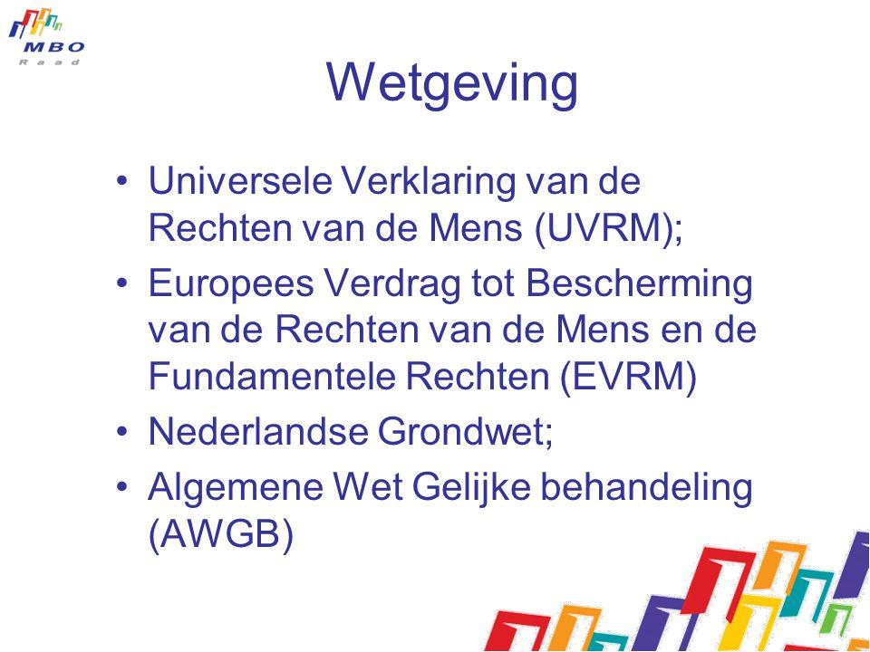 Wetgeving Universele Verklaring van de Rechten van de Mens (UVRM); Europees Verdrag tot Bescherming van de Rechten van de Mens en de Fundamentele Rechten (EVRM) Nederlandse Grondwet; Algemene Wet Gelijke behandeling (AWGB)
