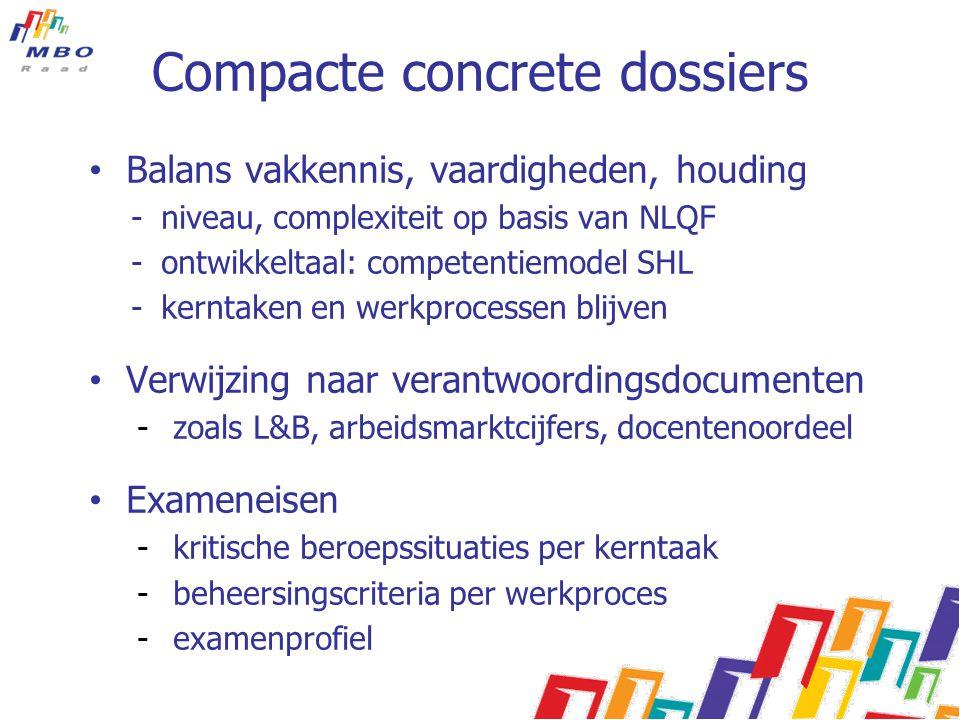 Compacte concrete dossiers Balans vakkennis, vaardigheden, houding -niveau, complexiteit op basis van NLQF -ontwikkeltaal: competentiemodel SHL -kernt