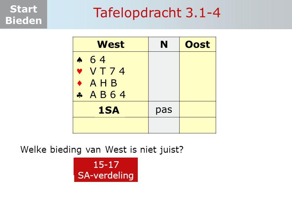 Start Bieden Tafelopdracht 3.1-4 WestNOost    11 pas 1 6 4 V T 7 4 A H B A B 6 4 3 Welke bieding van West is niet juist.
