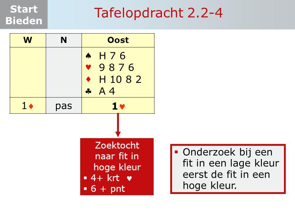 Start Bieden Tafelopdracht 2.2-4 WNOost    11 pas.