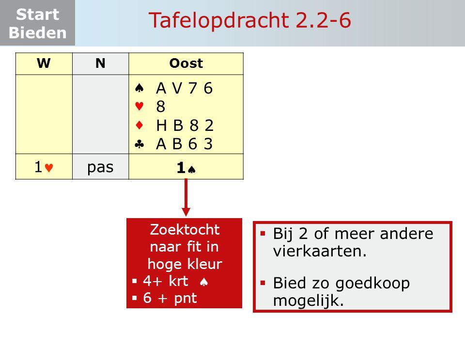 Start Bieden Tafelopdracht 2.2-6 WNOost    1 pas.