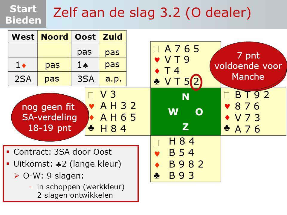 Start Bieden   ♣   ♣ N W O Z   ♣   ♣  Contract: 3SA door Oost  Uitkomst: 2 (lange kleur)  O-W: 9 slagen: -in schoppen (werkkleur) 2 slagen ontwikkelen WestNoordOostZuid 6+ pnt 4+ krt  12-19 pnt  4-4-3-2 pas 11 11 Zelf aan de slag 3.2 (O dealer) pas B T 9 2 8 7 6 V 7 3 A 7 6 H 8 4 B 5 4 B 9 8 2 B 9 3 V 3 A H 3 2 A H 6 5 H 8 4 A 7 6 5 V T 9 T 4 V T 5 2 2SA pas nog geen fit SA-verdeling 18-19 pnt 3SA a.p.