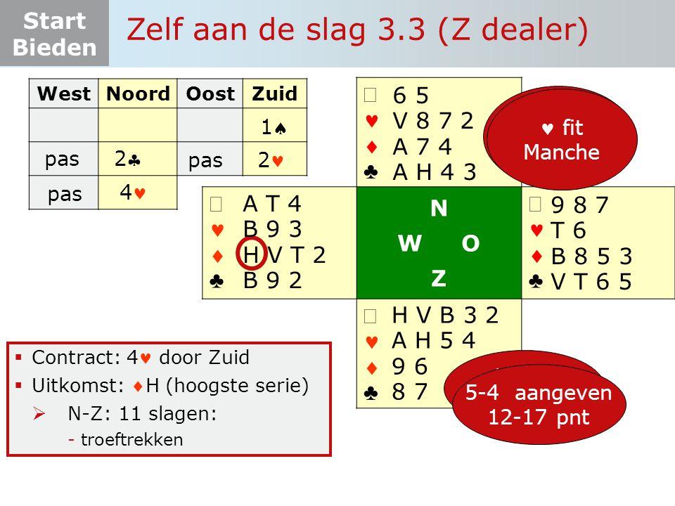 Start Bieden   ♣   ♣ N W O Z   ♣   ♣  Contract: 4 door Zuid  Uitkomst: H (hoogste serie)  N-Z: 11 slagen: -troeftrekken WestNoordOostZuid 13 pnt 5-4-2-2 11 pas 22 Zelf aan de slag 3.3 (Z dealer) 2 H V B 3 2 A H 5 4 9 6 8 7 6 5 V 8 7 2 A 7 4 A H 4 3 9 8 7 T 6 B 8 5 3 V T 6 5 10+ pnt 4 krt  fit onderzoek 5-4 aangeven 12-17 pnt A T 4 B 9 3 H V T 2 B 9 2 pas 4 fit Manche