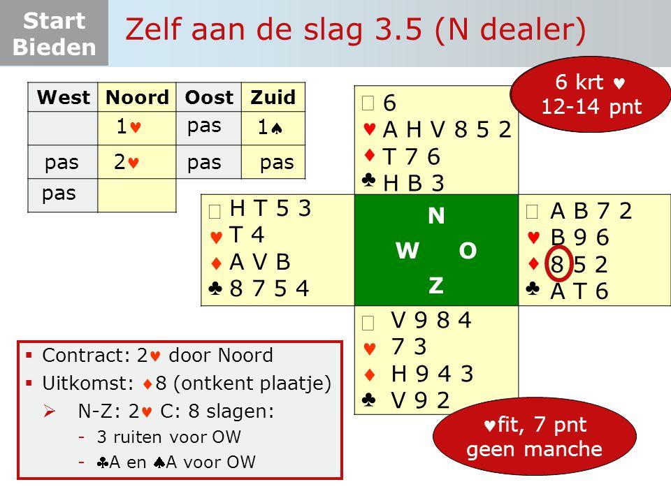 Start Bieden Zelf aan de slag 3.5 (N dealer)   ♣   ♣ N W O Z   ♣   ♣  Contract: 2 door Noord  Uitkomst: 8 (ontkent plaatje)  N-Z: 2 C: 8 slagen: - 3 ruiten voor OW - A en A voor OW 13 pnt 6-3-3-1 6 A H V 8 5 2 T 7 6 H B 3 A B 7 2 B 9 6 8 5 2 A T 6 V 9 8 4 7 3 H 9 4 3 V 9 2 H T 5 3 T 4 A V B 8 7 5 4 6+ pnt fit onderzoek 6 krt 12-14 pnt WestNoordOostZuid 1 pas 11 2 fit, 7 pnt geen manche