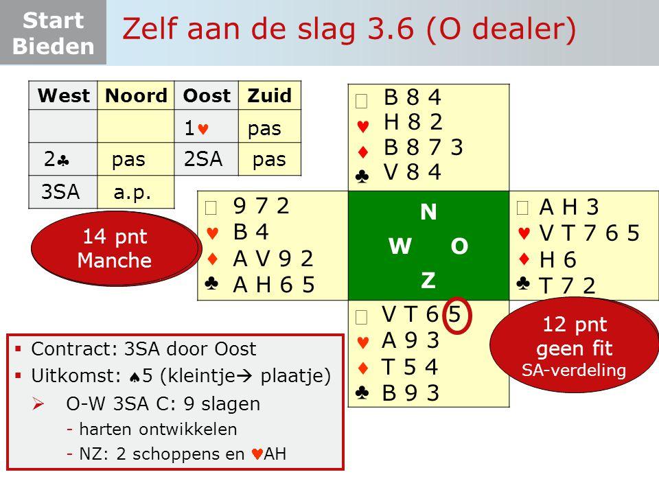 Start Bieden   ♣   ♣ N W O Z   ♣   ♣  Contract: 3SA door Oost  Uitkomst: 5 (kleintje  plaatje)  O-W 3SA C: 9 slagen -harten ontwikkelen -NZ: 2 schoppens en AH 10+ pnt fit onderzoek 4 krt + 12-19 pnt 5-3-3-2 Zelf aan de slag 3.6 (O dealer) A H 3 V T 7 6 5 H 6 T 7 2 V T 6 5 A 9 3 T 5 4 B 9 3 9 7 2 B 4 A V 9 2 A H 6 5 B 8 4 H 8 2 B 8 7 3 V 8 4 12 pnt geen fit SA-verdeling 14 pnt Manche WestNoordOostZuid 1 pas 22 2SApas 3SAa.p.