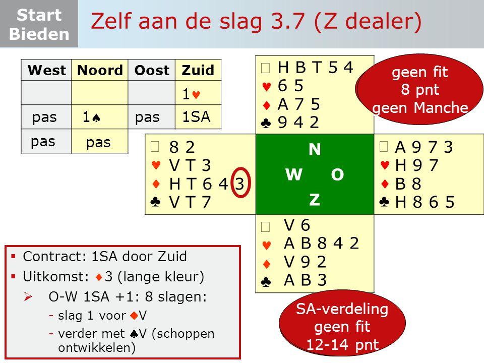 Start Bieden   ♣   ♣ N W O Z   ♣   ♣  Contract: 1SA door Zuid  Uitkomst: 3 (lange kleur)  O-W 1SA +1: 8 slagen: -slag 1 voor V -verder met V (schoppen ontwikkelen) Zelf aan de slag 3.7 (Z dealer) V 6 A B 8 4 2 V 9 2 A B 3 8 2 V T 3 H T 6 4 3 V T 7 H B T 5 4 6 5 A 7 5 9 4 2 A 9 7 3 H 9 7 B 8 H 8 6 5 12-19 pnt 5-3-3-2 fit onderzoek 6+ pnt SA-verdeling geen fit 12-14 pnt WestNoordOostZuid 1 pas 11 1SA pas geen fit 8 pnt geen Manche