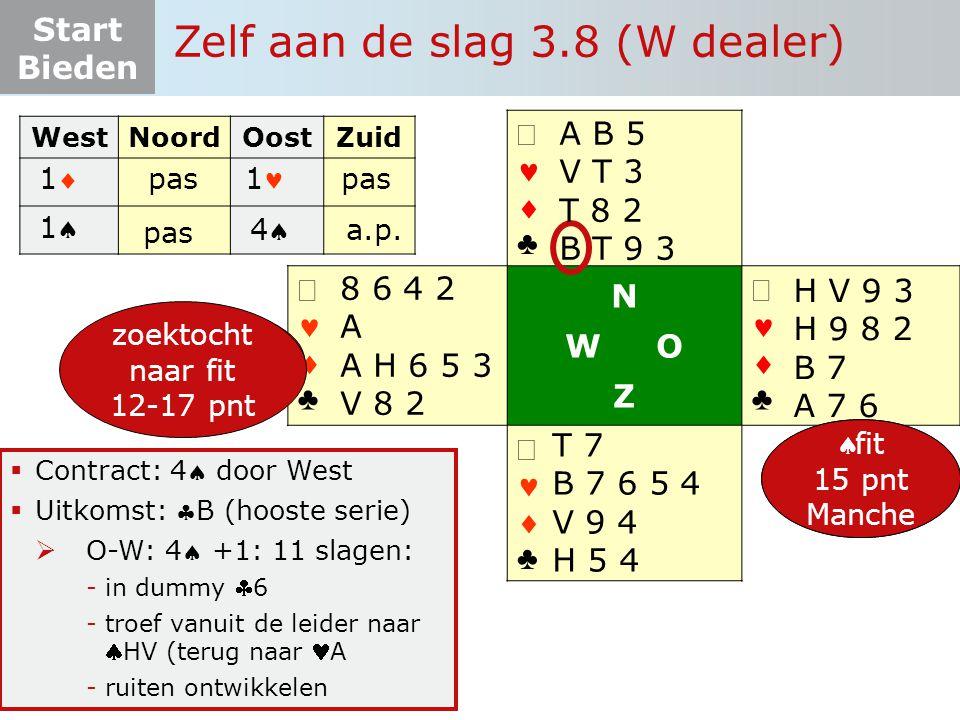 Start Bieden   ♣   ♣ N W O Z   ♣   ♣  Contract: 4 door West  Uitkomst: B (hooste serie)  O-W: 4 +1: 11 slagen: -in dummy 6 -troef vanuit de leider naar HV (terug naar A -ruiten ontwikkelen WestNoordOostZuid 12-19 pnt 5-4-3-1 pas 1 11 Zelf aan de slag 3.8 (W dealer) 11 pas 44 8 6 4 2 A A H 6 5 3 V 8 2 H V 9 3 H 9 8 2 B 7 A 7 6 T 7 B 7 6 5 4 V 9 4 H 5 4 A B 5 V T 3 T 8 2 B T 9 3 6+ pnt zoektocht naar fit a.p.