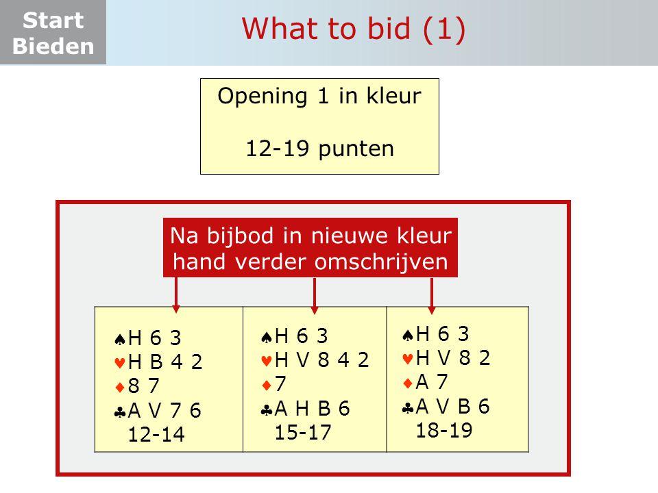 Start Bieden What to bid (1)  12-14 pnt  15-17 pnt  18-19 pnt Opening 1 in kleur 12-19 punten Na bijbod in nieuwe kleur hand verder omschrijven nooit SA verdelingen H 6 3 H B 4 2 8 7 A V 7 6 12-14 H 6 3 H V 8 2 A 7 A V B 6 18-19 H 6 3 H V 8 4 2 7 A H B 6 15-17