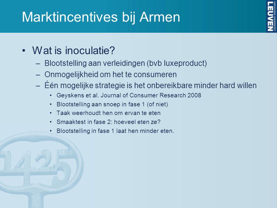 Marktincentives bij Armen Wat is inoculatie? –Blootstelling aan verleidingen (bvb luxeproduct) –Onmogelijkheid om het te consumeren –Één mogelijke str