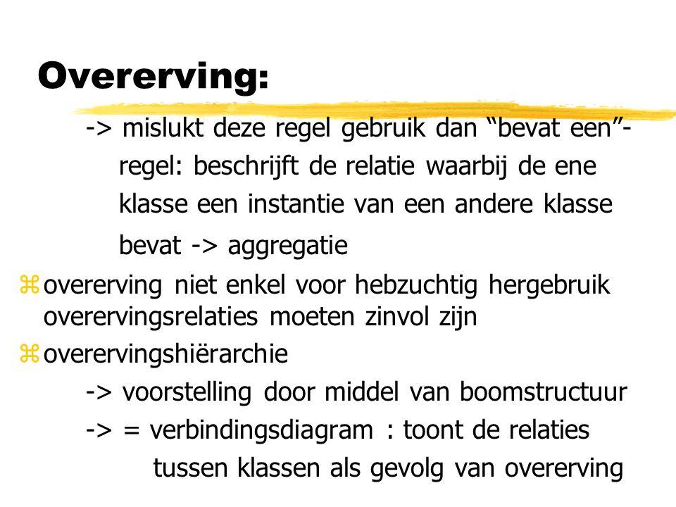 """Overerving : -> mislukt deze regel gebruik dan """"bevat een""""- regel: beschrijft de relatie waarbij de ene klasse een instantie van een andere klasse bev"""