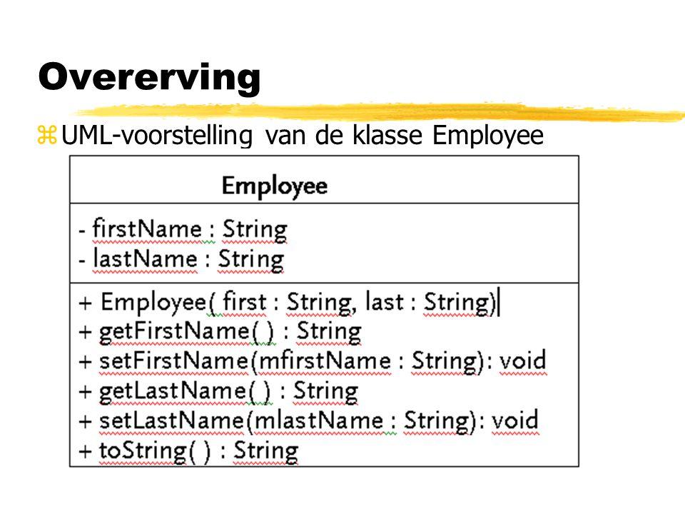 *super: verwijzing naar basisklasse : in casu klasse Employee *CommissionWorker erft van Employee : toString( ), getFirstName ( ), getLastName ( ), setFirstName ( ), setLastName ( ), firstName en lastName maken deel uit van de definitie.