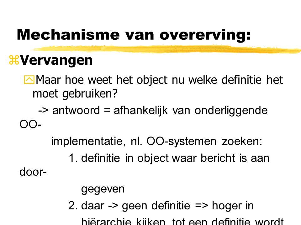 Mechanisme van overerving: zVervangen  Maar hoe weet het object nu welke definitie het moet gebruiken? -> antwoord = afhankelijk van onderliggende OO