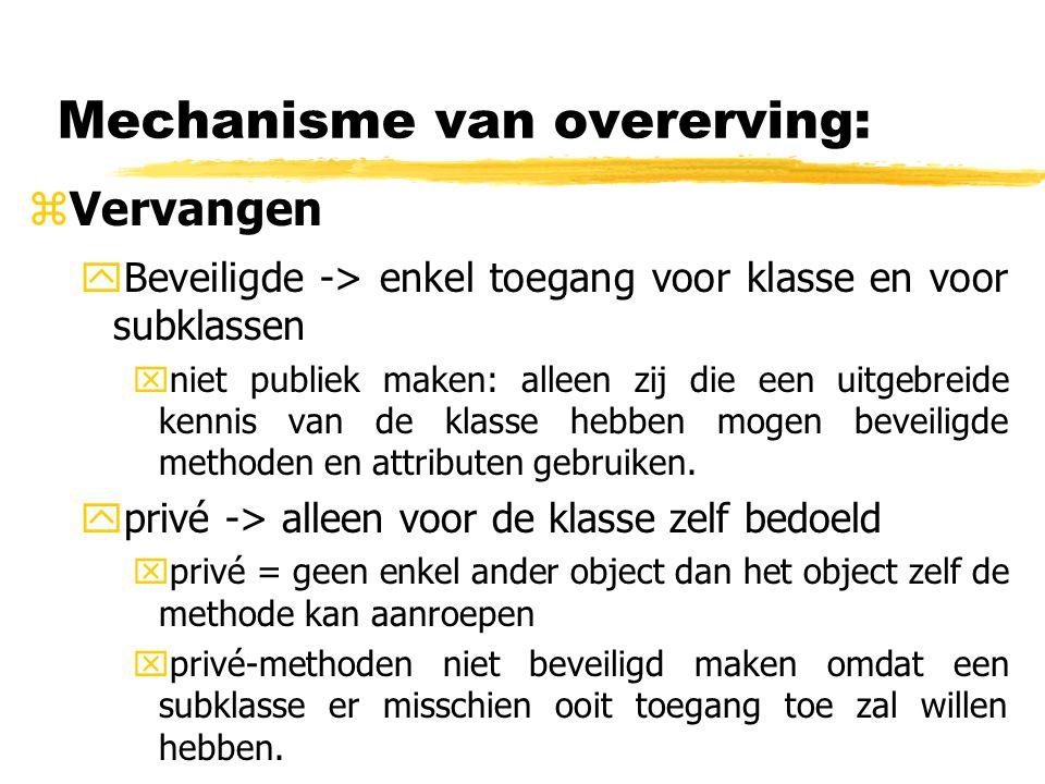 Mechanisme van overerving: zVervangen yBeveiligde -> enkel toegang voor klasse en voor subklassen xniet publiek maken: alleen zij die een uitgebreide