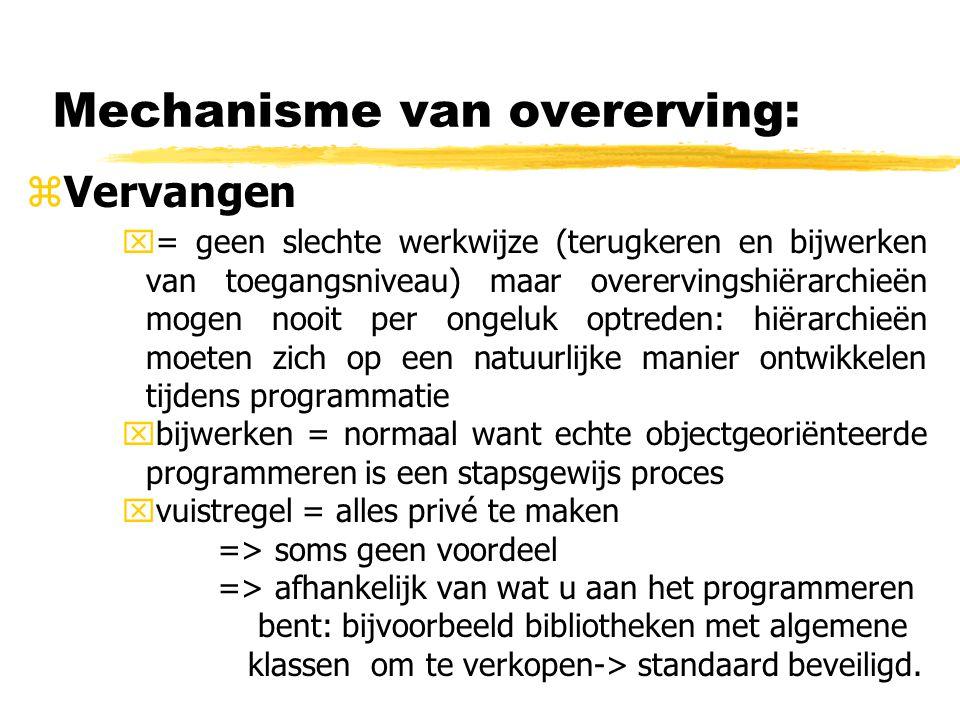 Mechanisme van overerving: zVervangen x= geen slechte werkwijze (terugkeren en bijwerken van toegangsniveau) maar overervingshiërarchieën mogen nooit