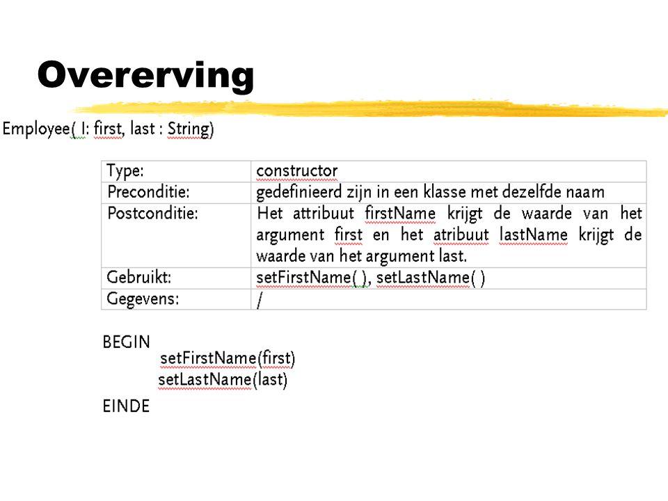 Soorten overerving: zOvererving voor het verschil  beide gevallen staan bekend als specialisatie yspecialisatie = het proces van een child-klasse die zichzelf definieert in termen van hoe deze van zijn parent verschilt door -> nieuwe methoden en eigenschappen toe te voegen -> herdefinitie bestaande methoden -> verwijderen methoden is onmogelijk