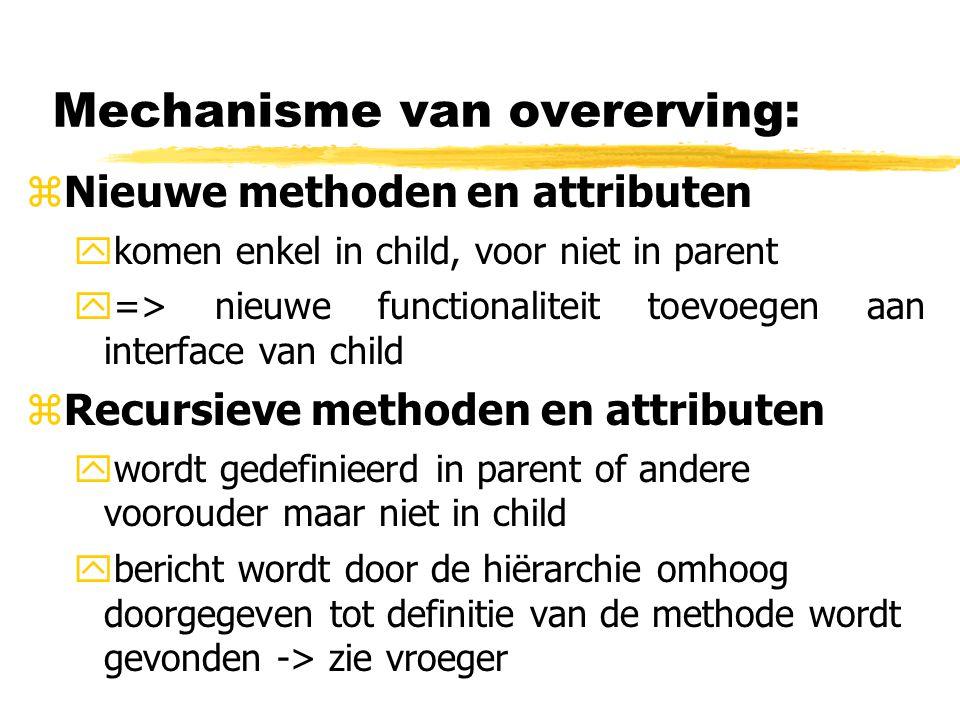 Mechanisme van overerving: zNieuwe methoden en attributen ykomen enkel in child, voor niet in parent y=> nieuwe functionaliteit toevoegen aan interfac
