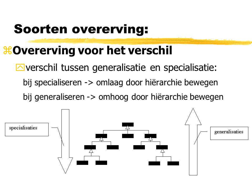 Soorten overerving: zOvererving voor het verschil yverschil tussen generalisatie en specialisatie: bij specialiseren -> omlaag door hiërarchie bewegen