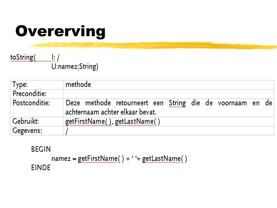 Soorten overerving: zOvererving voor typevervanging -> bijvoorbeeld de constructor van Line: + Line(cp1: TwoDimensionalPoint, cp2 : TwoDimensionalPoint) * TwoDimensionalPoint of een willekeurige afstammeling van TwoDimensionalPoint kan aan constructor worden doorgeven.