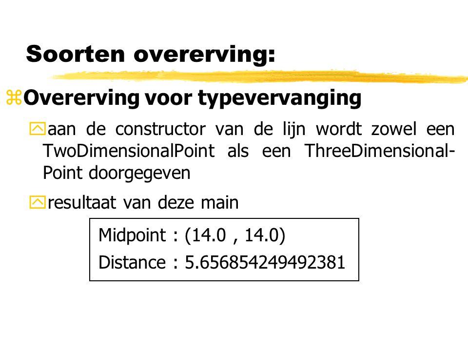 Soorten overerving: zOvererving voor typevervanging yaan de constructor van de lijn wordt zowel een TwoDimensionalPoint als een ThreeDimensional- Poin