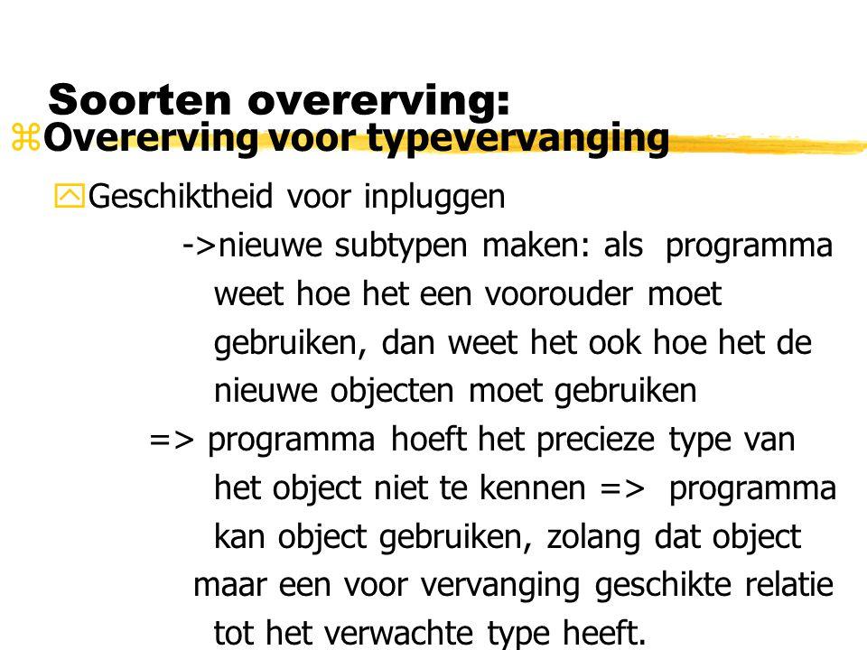 Soorten overerving: zOvererving voor typevervanging yGeschiktheid voor inpluggen ->nieuwe subtypen maken: als programma weet hoe het een voorouder moe
